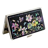 Mother of Pearl Pink Yellow Purple Lily Flower Design Black Metal Business Credit Name Id Card Holder Case Stainless Steel Engraved Slim Purse Pocket Cash Money Wallet by Antique Alive