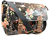 Lydc Milly Floral SS01015, Damen Messengerbag, Schwarz (Black), L