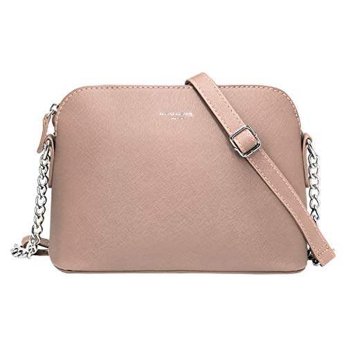 David Jones - Damen Kleine Umhängetasche - Saffiano Leder Feste Schultertasche - Kette Schulterriemen Abendtasche - Reißverschluss Handtasche - City Clutch Party Zip Crossbody Bag Mode - Rosa