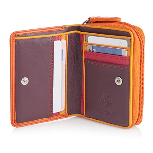 Visconti Twofold Leder Damen Geldbörse Rainbow Multicolor/Mehrfarbig Small Purse(RB53): (Orange Multi)