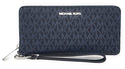 Michael Kors Women's Jet Set Travel Large Travel Continental Wallet/Wristlet - Monogram PVC (Admiral Blue)