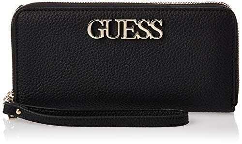 Guess Damen Uptown Chic SLG Lrg Zip Around Kuriertasche, Schwarz (Black), 9x13x21 cm