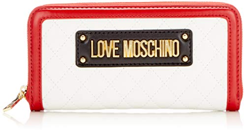 Love Moschino Damen Quilted Pu Mix Multi Geldbeutel, Weiß (Bianco), 15x10x15 Centimeters