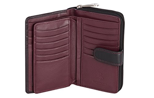 Visconti ® Leder Portemonnaie Damen RFID Schutz Geldbeutel Damen Geldbörse Bifold Mehrfarbig Portmonee in Geschenk-Box Colorado CD22 (schwarz/Bordeaux (Black/Bordeaux)