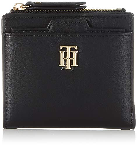 Tommy Hilfiger Damen TH SEASONAL MED SLIM WALLET Kleine Lederwaren, Schwarz, One Size