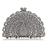 FFLLAS Damen Clutch Bag Abendtasche Pfau Typ Full Diamond Crystal High-End Luxus Prom Handtasche,6