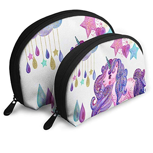 Kosmetiktasche Watercolor Unicarn Portable Shell Kulturveranstalter Für Frauen Pack - 2