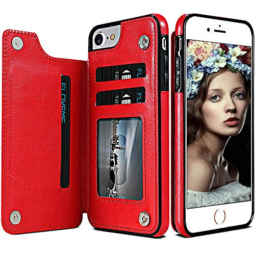 iPhone 6 Plus Flip Case für Damen/Herren, iPhone 6S Plus, Geldbörse, Spritech Vintage Leder Folio Flop Secure Fit Magnetverschluss Klapptasche mit Geldbörse/Kartenhalter rot