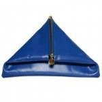 Nancy Gonzalez Shiny Royal Blue Crocodile Fold-Over Clutch
