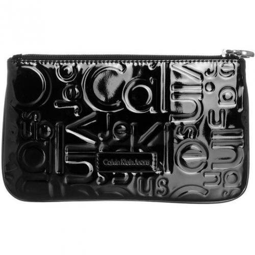 Calvin Klein Jeans Geldbörse black mit Lackoberfläche