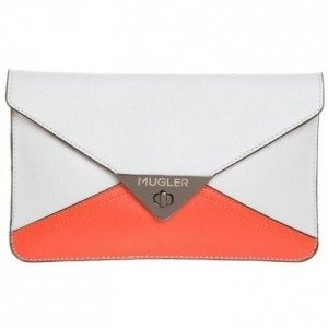 Thierry Mugler Clutch offwhite/ orange