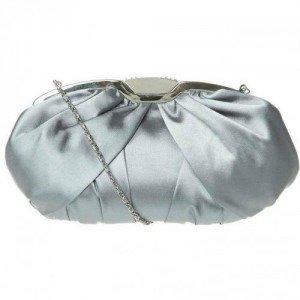 Victoria Delef Clutch gris aus Satinstoff