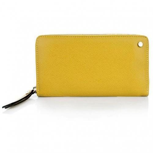 Abro Geldbörse Leder Saffiano Yellow