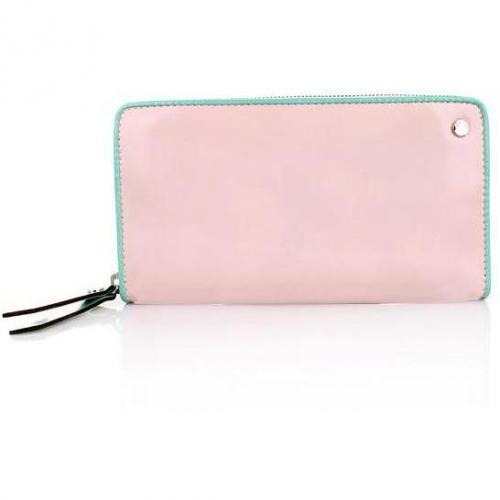 Abro Geldbörse Leder Specchio Bicolor Rosa/Mint