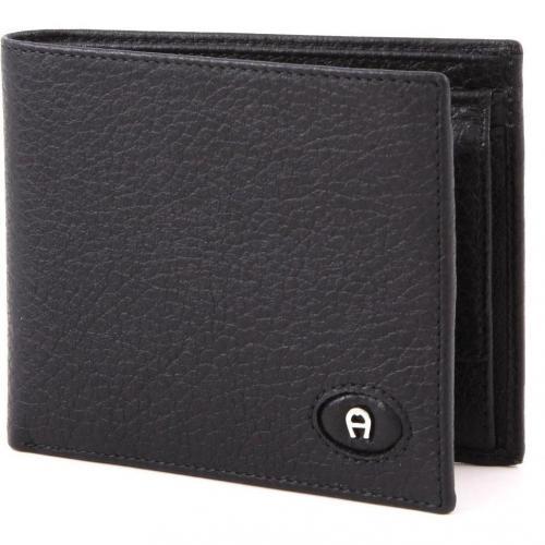 Aigner Basics Geldbörse aus Leder schwarz 12 cm
