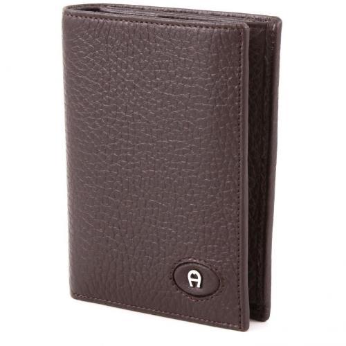 Aigner Basics Geldbörse Leder dunkelbraun 12 cm
