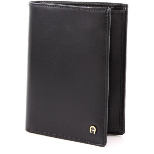 Aigner Basics Geldbörse Leder schwarz 12,5 cm