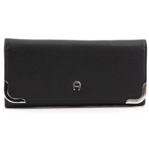 Aigner Carré Soft Geldbörse Damen Leder schwarz 19,5 cm