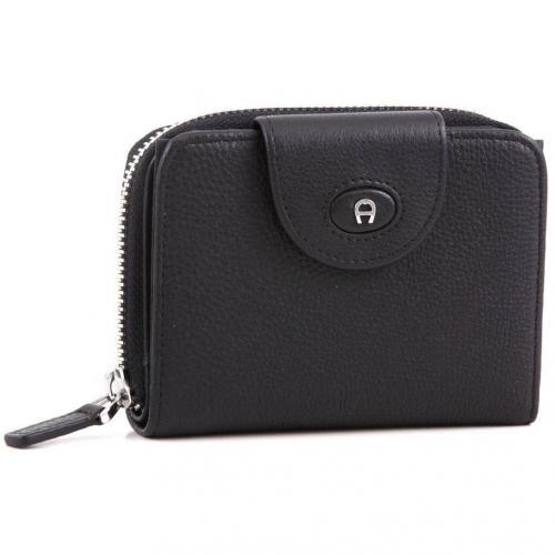 Aigner Classic Geldbörse Damen Leder schwarz 12 cm