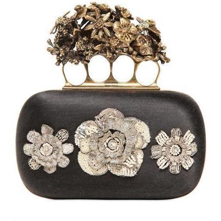 Alexander McQueen Seiden Knucklebox Clutch mit Blumenstickarbeit