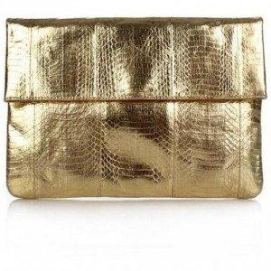 Angel Jackson Large Foldover Clutch Gold