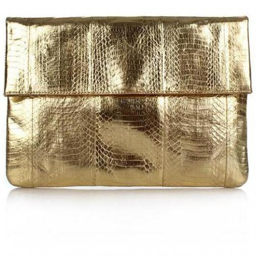 Angel Jackson Large Foldover Clutch Gold
