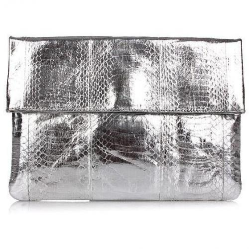 Angel Jackson Large Foldover Clutch Silver