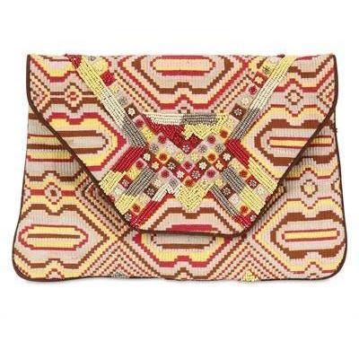 Antik Batik Clutch aus Segeltuch mit Perlen & Stickarbeit