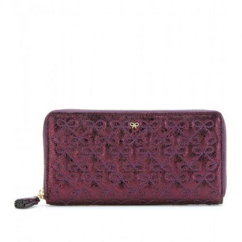 Anya Hindmarch Large Wilkes Lederportemonnaie violet