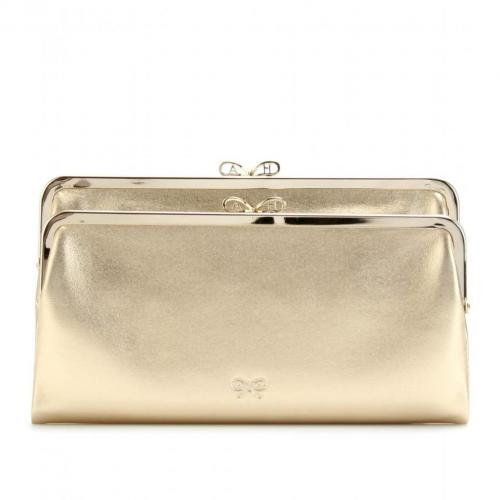Anya Hindmarch Metallic-Clutch aus Leder
