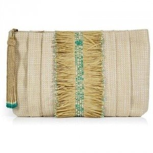 Anya Hindmarch Natural and Green Raffia Clutch Sonny