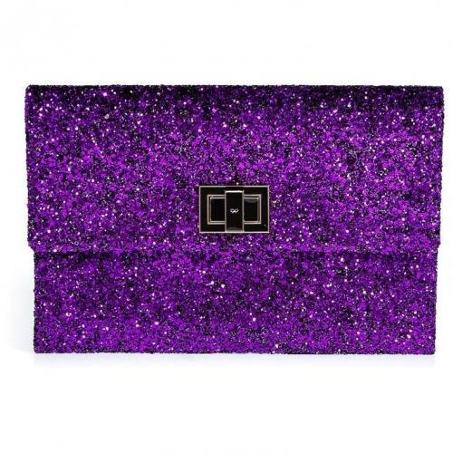 Anya Hindmarch Sparkling Plum Glitter Valorie Clutch
