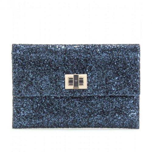 Anya Hindmarch Valorie Glitter-Clutch blue metallic
