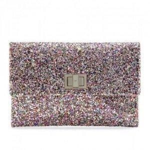 Anya Hindmarch Valorie Glitter-Clutch bunt metallic