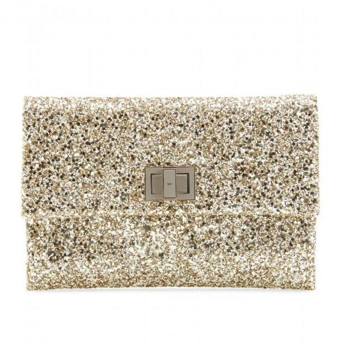 Anya Hindmarch Valorie Glitter-Clutch gold