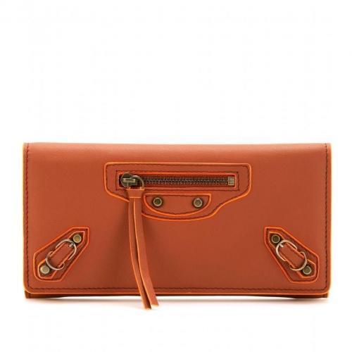 Balenciaga Lederportemonnaie Paper Money orangebraun
