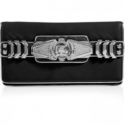 Balmain Black/Silver Leather Logo Embellished Fold-Over Clutch