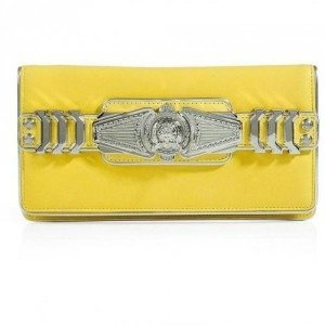 Balmain Yelow/Silver Leather Logo Embellished Fold-Over Clutch