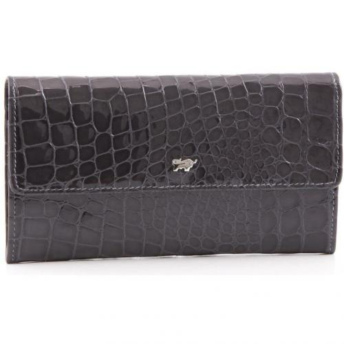 Braun Büffel Glanzkroko Geldbörse Leder grau 17,5 cm