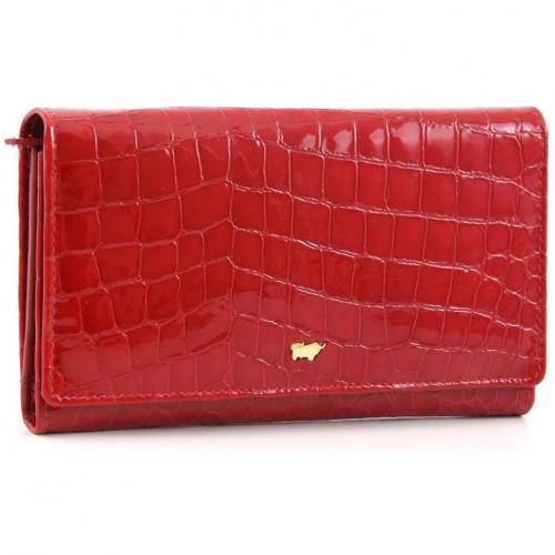 Braun Büffel Glanzkroko Geldbörse Leder rot 17 cm