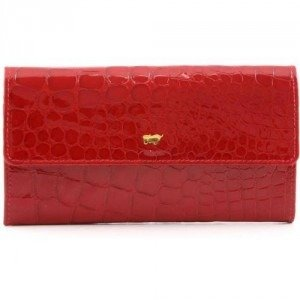 Braun Büffel Glanzkroko Geldbörse Leder rot 17,5 cm