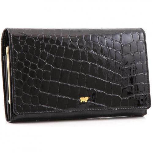 Braun Büffel Glanzkroko Geldbörse Leder schwarz 17 cm