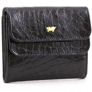 Braun Büffel Glanzkroko Geldbörse Leder schwarz 9,6 cm