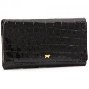 Braun Büffel Glanzkroko Portemonnaie Leder schwarz 17 cm