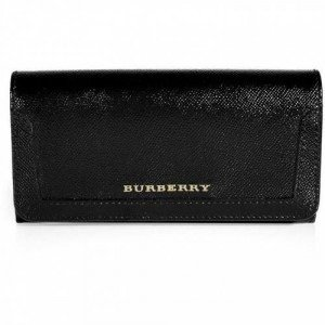 Burberry Brit Black Grainy Leather Flap Wallet