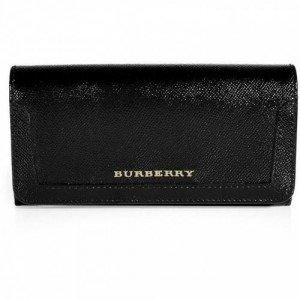 Burberry Brit Black Grainy Leather Flap Wallet