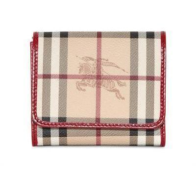 Burberry Leighton Haymarket PVC Brieftasche red
