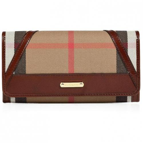 Burberry London Dark Tan Bridle House Check Penrose Continental Wallet