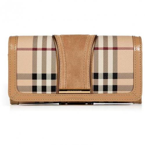 Burberry London Trench Haymarket Check Metallic Detail Continental Penrose Wallet