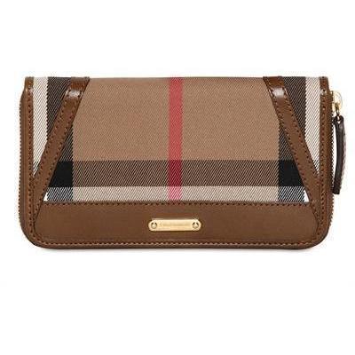 Burberry Ziggy Checked Brieftasche aus Baumwolle und Leder